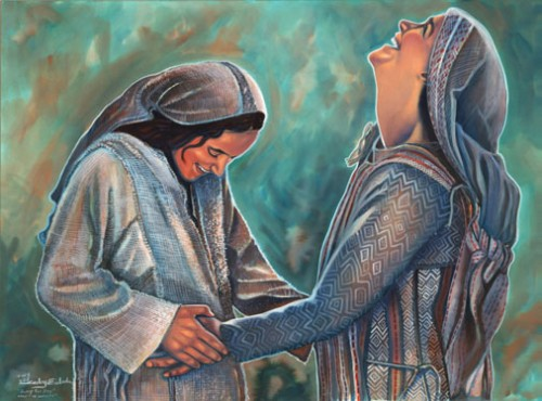 As Mary greets Elizabeth, the baby leaps in Elizabeth's womb